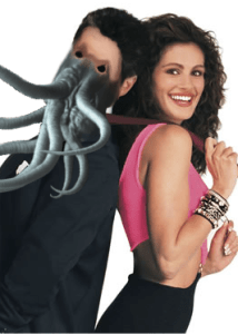 An altered picture of Richard Gere, in which he has tentacles for a face. He's back to back with Julia Roberts.