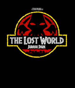 It's the Jurassic Park Logo, but instead of a dinosaur, there is a tentacled head above a title of 'The Lost World.'