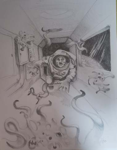 An astronaut on the International Space Station floats down a hallway, desperately seeking to escape from floating shoggoth-globules.