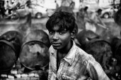 A young road worker.