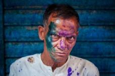 A Hindu man during Holi festival last year in Dhaka, Bangladesh.