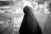 Woman in burqa in Dhaka, Bangladesh.