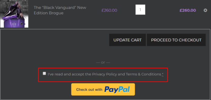 Add checkbox before checkout with Paypal button on Woocommerce cart page
