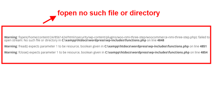 fopen no such file or directory error after migrating wordpress site