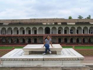 White marble seat for the emperor overlooking the meena bazaar