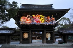 寒川神社@寒川:神門の迎春ねぶた「天岩戸」ライトアップ