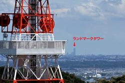 平塚湘南平のレストハウス展望台からのテレビ塔とランドマークタワー