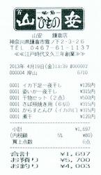 おじゃマップで紹介された鎌倉ひもの山安のレシート