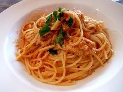 鎌倉長谷のダイニングバーCOCOMO(ココモ)のワタリガニのスパゲッティ