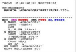 藤沢の暴風雪警報&大雪注意報