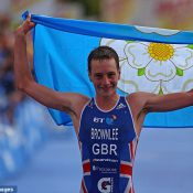 Alistair Brownlee with Yorkshire flag