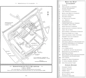 "The map of the Birmingham Gun Quarter from Jack Rowe's memory which appeared in ""Birmingham Gunmakers."" (Courtesy of Safari Press.)"