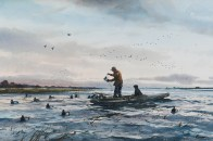 Painting of man putting duck decoys out on boat
