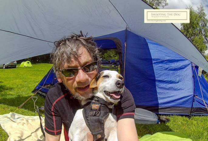Tom and Fidget camping in Wales