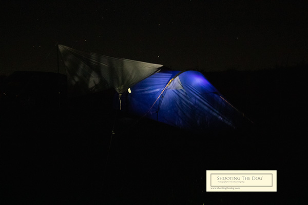 Tent lit up at night