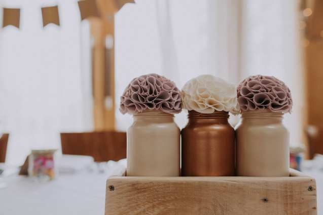 Fabric pom poms and glass jars
