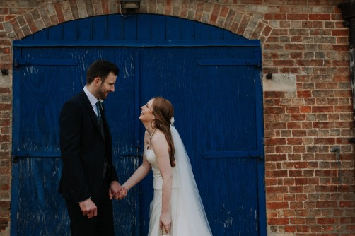 Bride and groom at Bassmead Manor Barn