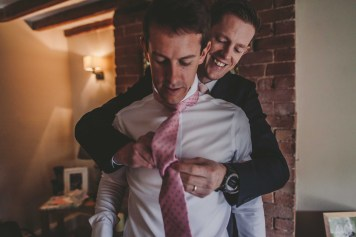 Rose & Matt's Leicestershire Home Wedding the grooms tie