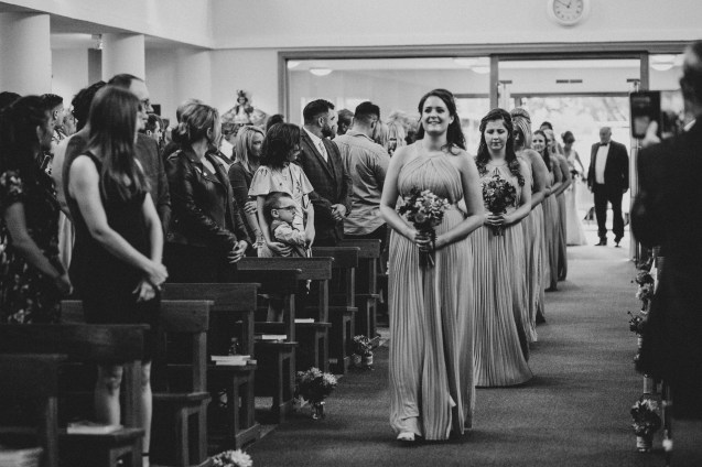 Bridesmaids coming down the aisle