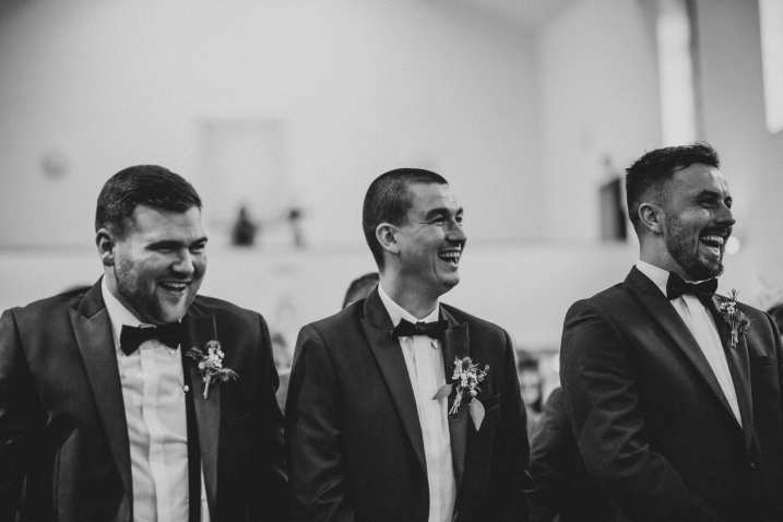 Wedding ceremony laughter