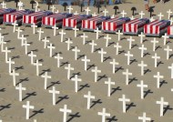 Sundays installation in honor of war casualties, Sta. Monica beach, California