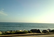 Horizon meets Pacific ocean. Malibu beach, LA, CA.