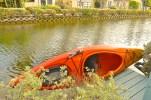 Orange Kayak. Venice Beach Canals.