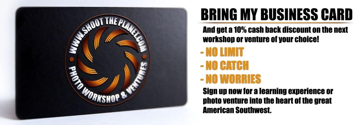 Get 10% cash back on the next workshop or venture!