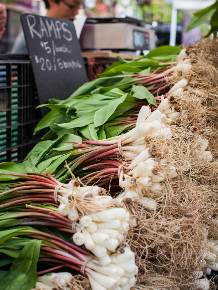 Stacks of ramps and the farmer's market