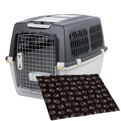 lot cage de transport trixie gulliver tapis vetbed isobed sl noir pattes grises pour chien