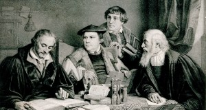 V0048412 Luther, Melanchthon, Pomeranus and Crucicer Credit: Wellcome Library, London. Wellcome Images images@wellcome.ac.uk http://wellcomeimages.org Martin Luther, Philip Melanchthon, Pomeranus and Crucicer around a table, translating the Bible. circa 1860 By: P. A. LabouchËreafter: LÈon. NoelPublished: ca. 1860  Copyrighted work available under Creative Commons Attribution only licence CC BY 4.0 http://creativecommons.org/licenses/by/4.0/