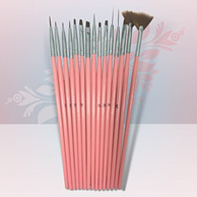 Rio Profi Набор кистей для маникюра 15 шт, цвет розовый
