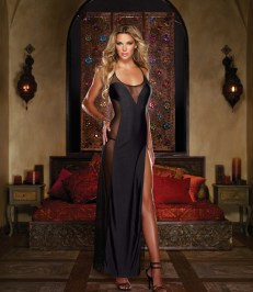 Dreamgirl Edgy Sexy Microfiber Illusion Gown and Thong - Shop-Naughty.