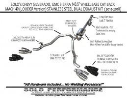 2014 2018 chevy silverado gmc 5 3l v8 143 5 wheelbase mach 40 louder version cat back dual exhaust kit