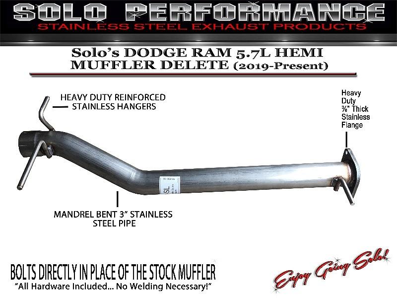 2019 present dodge ram 5 7l solo hemi muffler delete and resonator options
