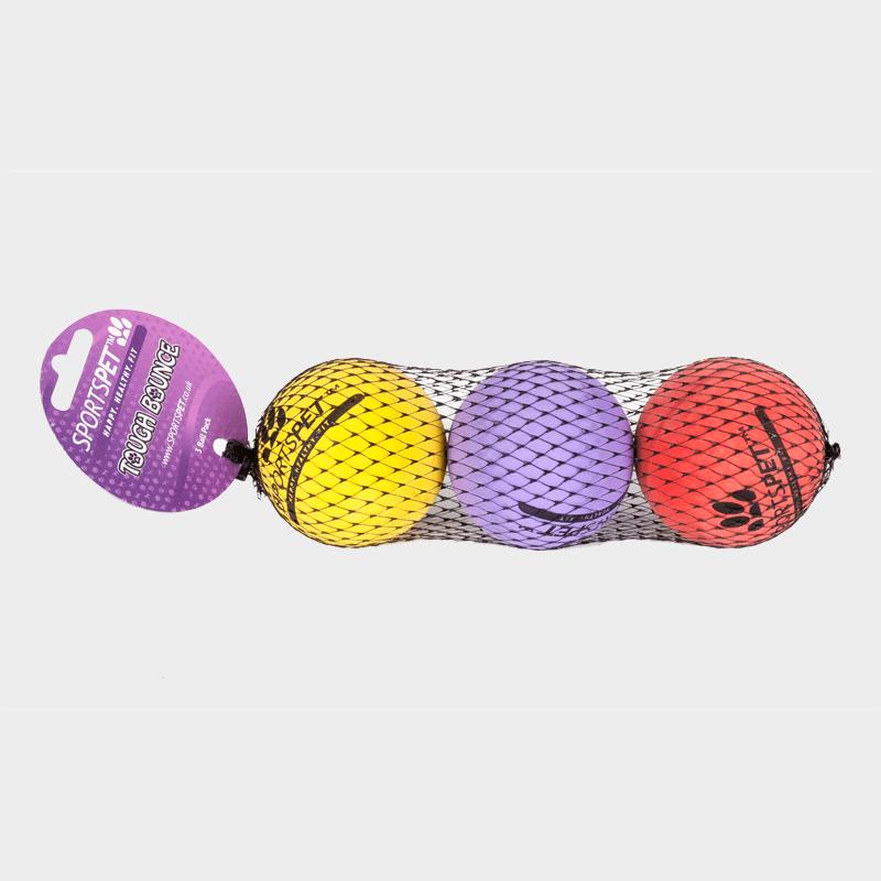 Lot de 3 Tough Bounce Ball 65 mm Ø de SPORTSPET en rouge, jaune et violet (de gauche à droite) dans son emballage d'origine