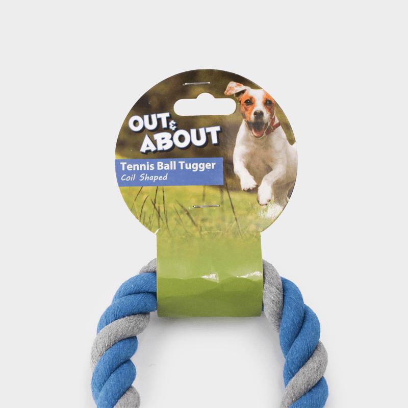 Corde bleue emballée à l'origine avec balle de tennis en taille L par Happy Pet