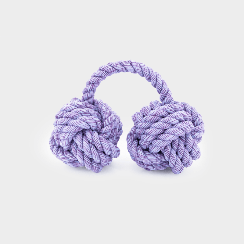 Hängendes lilanes Nuts for Knots Kingsize Doppelball von Happy Pet