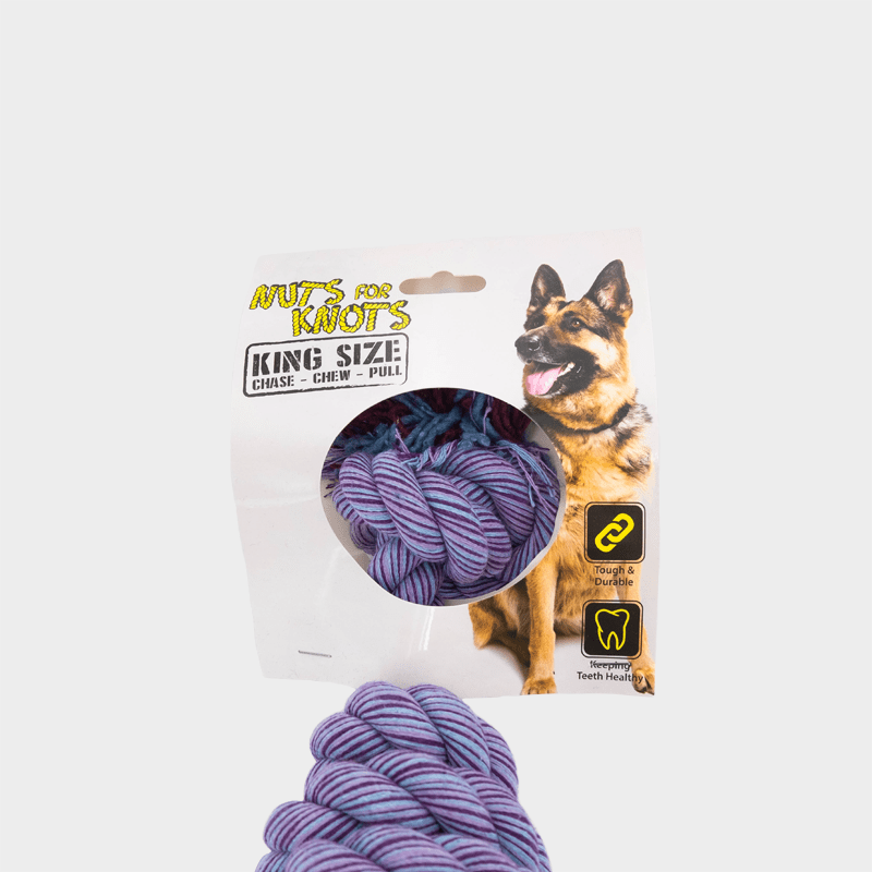 Einzelne, lilane Nuts for Knots Spule Kingsize von Happy Pet in Originalverpackung