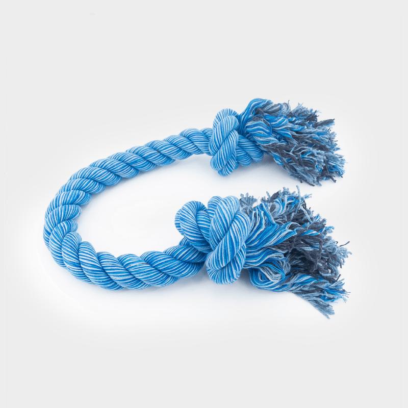 Einzelnes, liegendes, blaues Nuts for Knots Kingsize Größe L Schleppseil von Happy Pet