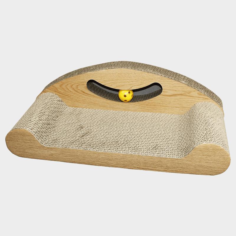 Smiley Katzenkratzer von HappyPet in bankförmigen-Design mit einer Ballschiene mit einem gelben Ball