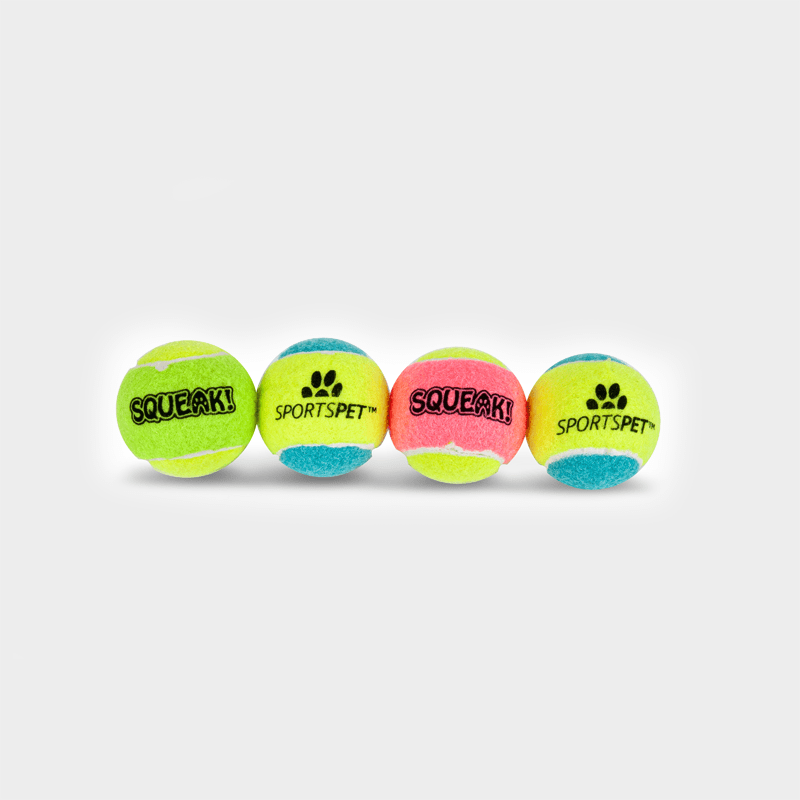 Tennis balls Puppy 48 mm Ø with squeaker by SPORTSPET 4-pack