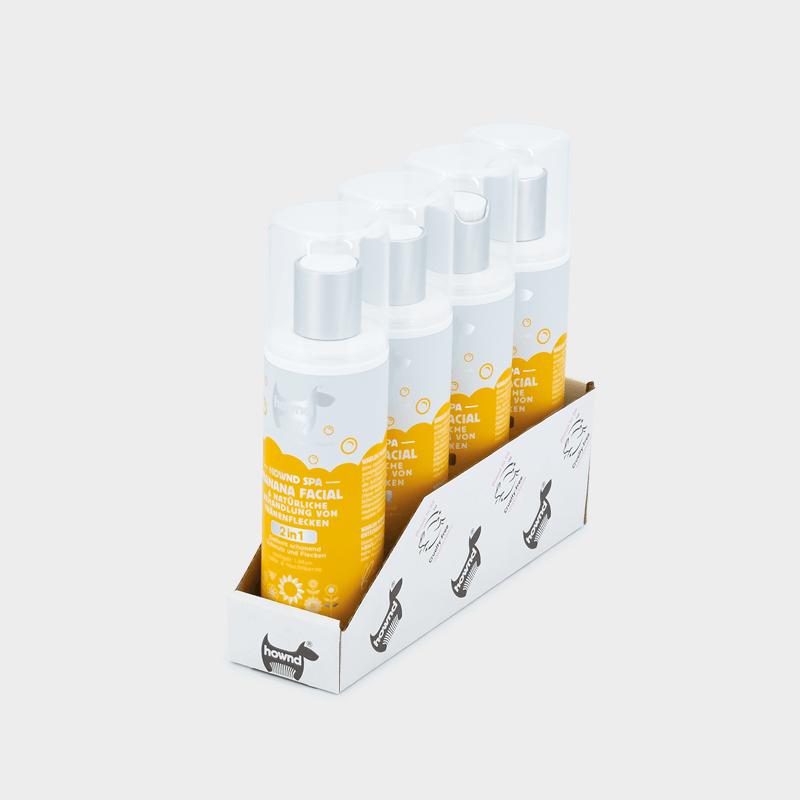 Plateau 4 x 250 ml Traitement naturel des taches de larmes Spa Banana Facial by HOWND