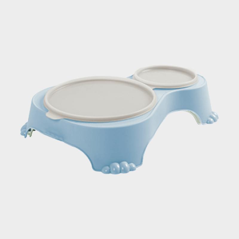 Blauer Doppel-Futternapf Sally 1 l + 0,28 l mit Deckel von Rotho MyPet mit Deckel verschlossen