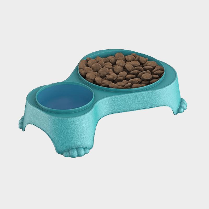 Aqua Doppel-Futternapf Sally 1 l + 0,28 l mit Deckel von Rotho MyPet gefüllt mit Futter und Trinkwasser