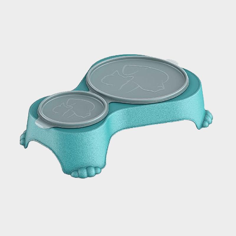 Aqua Doppel-Futternapf Sally 1 l + 0,28 l mit Deckel von Rotho MyPet mit Deckel verschlossen