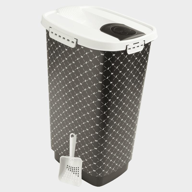 Rotho MyPet Set Cody Schaufel und Futterbehälter Variante schwarz-weiß 50 l