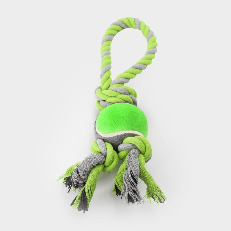Grünes Nuts for Knots Spieltau mit Tennisball in der Größe L von Happy Pet