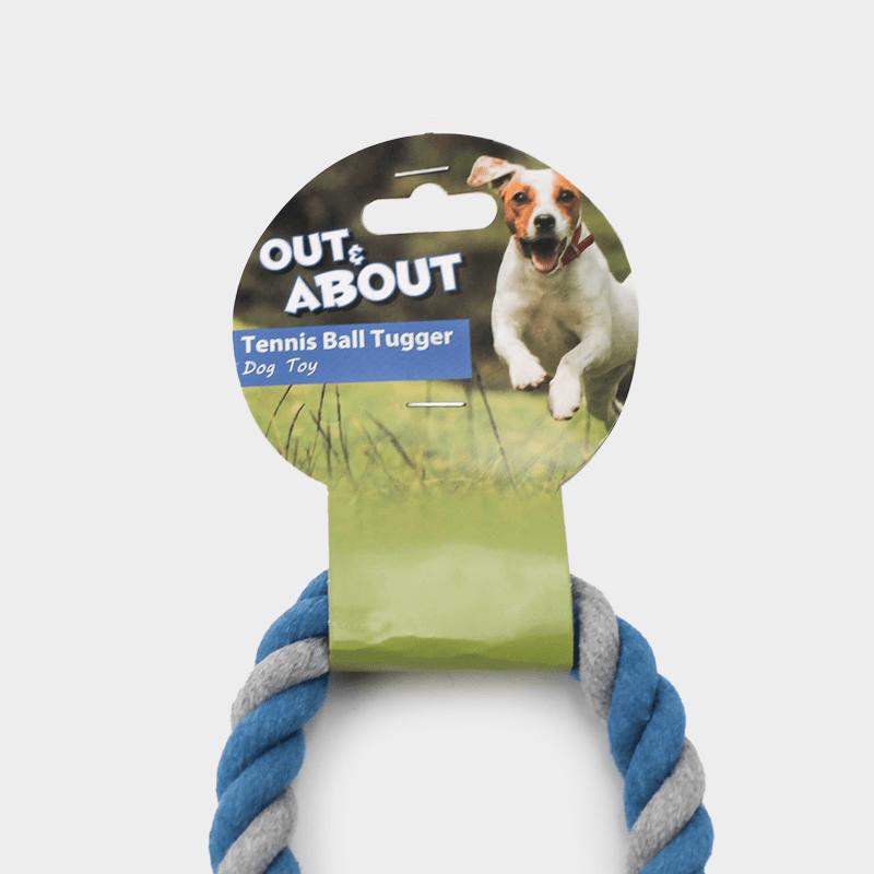 Detailansicht des blauen Nuts for Knots Spieltaus mit Tennisball in der Größe L von Happy Pet