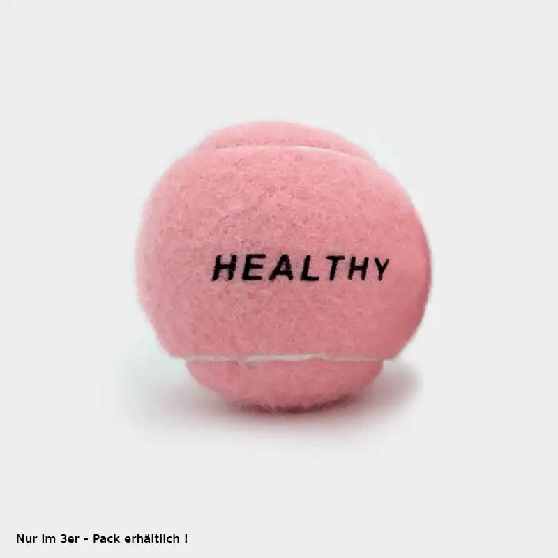 """SPORTSPET Tennisball pink mit der Aufschrift """"HEALTHY"""" einzeln"""